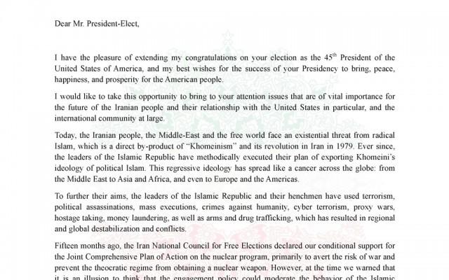 نامه ریاست شورای ملی ایران به ریاست منتخب جمهوری آمریکا
